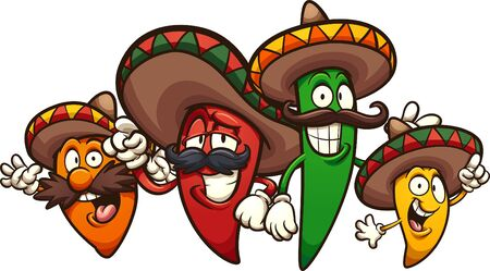 Mexican chili peppers of different colors and sizes. Vector cartoon clip art illustration with simple gradients. Each on a separate layer. Ilustración de vector