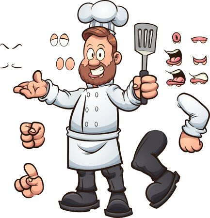 Cartoon chef with different poses and expressions. Vector clip art illustration with simple gradients. Some elements on separate layers.