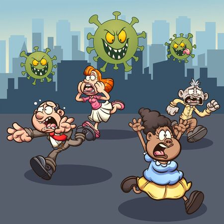 People running away in panic from corona virus. Vector cartoon clip art illustration with simple gradients. Some elements on separate layers.