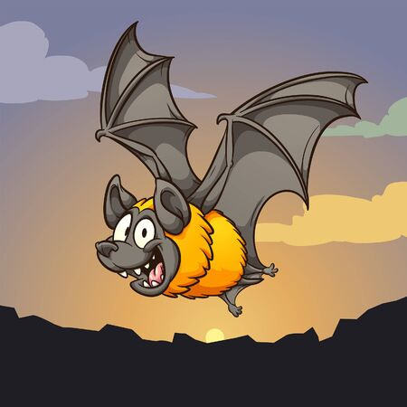Happy cartoon bat flying on at dusk. Vector cartoon clip art illustration with simple gradients. Some elements on separate layers.