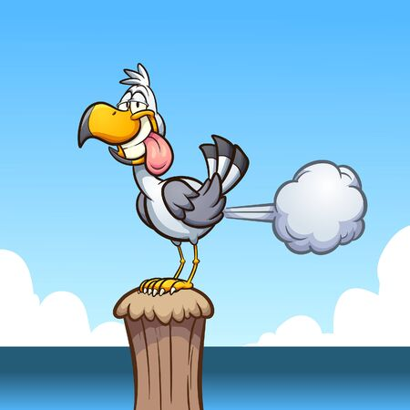Farting seagull standing on a wooden pole. Vector cartoon clip art illustration with simple gradients. Some elements on separate layers.