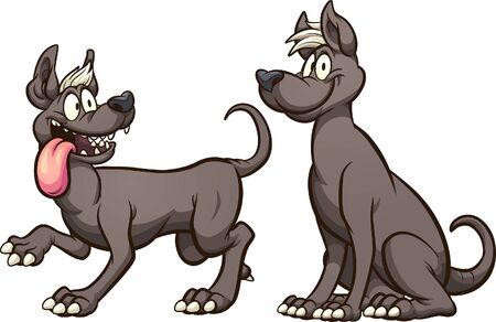 Cartoon Mexican Xolo hairless dogs walking and sitting. Vector cartoon clip art illustration with simple gradients.Each on a separate layer.