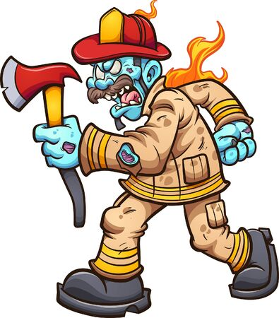 Zombie fireman walking with an angry face and holding an axe. Vector cartoon clip art illustration with simple gradients. All on a single layer.