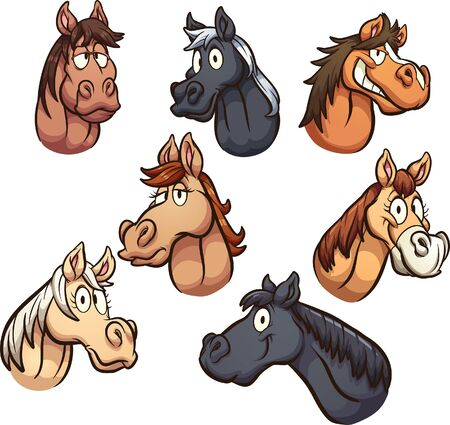 Cartoon male and female horse heads with different expressions. Vector clip art illustration with simple gradients. Each on a separate layer.