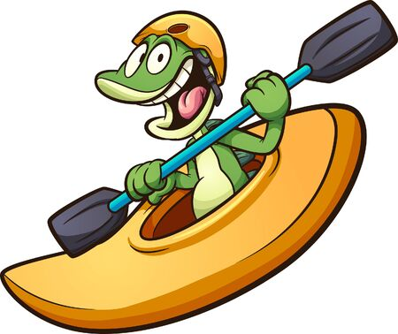 Happy cartoon iguana riding a kayak. Vector clip art illustration with simple gradients. All in a single layer.