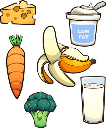 Diverse cartoon food items. Vector clip art illustration with simple gradients. Each on a separate layer.
