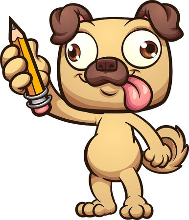 Happy cartooin pug standing and holding a pencil. Vector cartoon clip art illustration with simple gradients. All on a single layer.