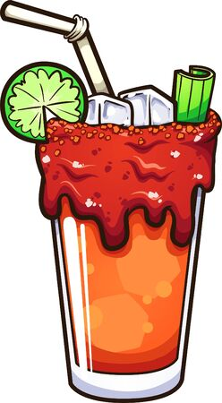 Cartoon Mexican Bloody Mary alcoholic drink or michelada. Vector clip art illustration with simple gradients. All in a single layer.