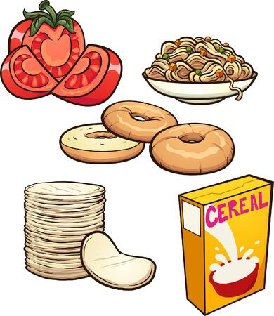 Cartoon food items and groceries. Vector clip art illustration with simple gradients. Some elements on separate layers.
