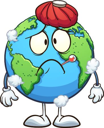 Sick cartoon planet earth with thermometer and water bag. Vector clip art illustration with simple gradients. Some elements on separate layers.