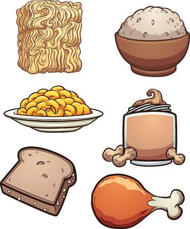 Cartoon diverse food items and groceries. Vector clip art illustration with simple gradients. Each on a separate layer. Ilustracja