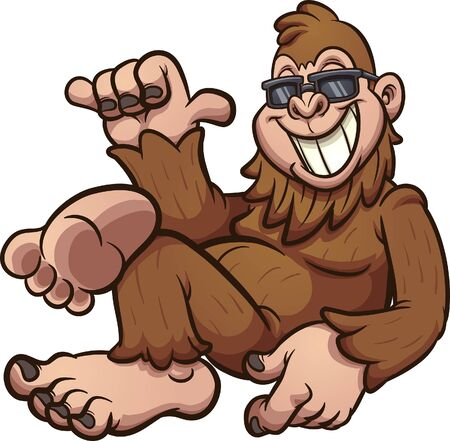 Cool cartoon bigfoot resting and wearing sunglasses. Vector cartoon clip art illustration with simple gradients. All on a single layer. Ilustracja