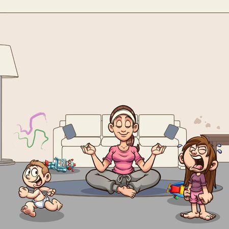 Calm mom meditating in living room while kids run around and cry. Vector cartoon clip art illustration with simple gradients. Some elements on separate layers. Ilustracja