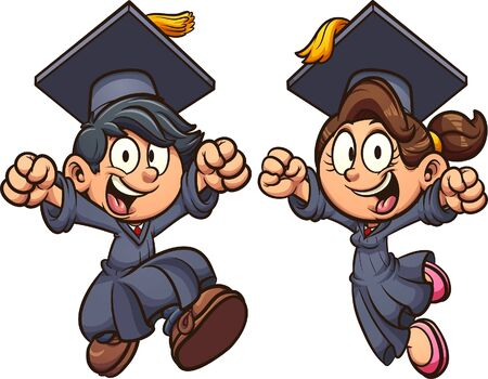 Graduating excited boy and girl wearing a cap and gown. Vector cartoon clip art illustration with simple gradients. Each on a separate layer.