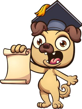 Cartoon pug with a graduating cap, holding a blank paper. Vector cartoon clip art illustration with simple gradients. All on a single layer.