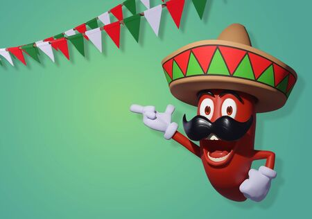 Mexican red chili pepper on a green background with pennants. All elements on separate layers.