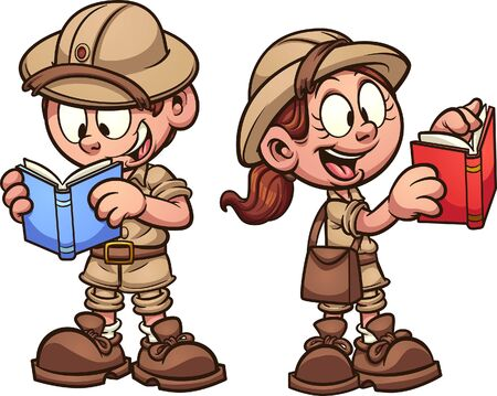 Safari kids with explorer outfits, reading books. Vector clip art illustration with simple gradients. Each on a separate layer.