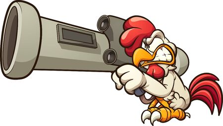 Cartoon chicken holding a big RPG launcher. Vector clip art illustration with simple gradients. Chicken and RPG on separate layers.