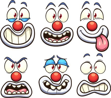 Cartoon clown face with different expressions. Vector clip art illustration with simple gradients. Some elements on separate layers.