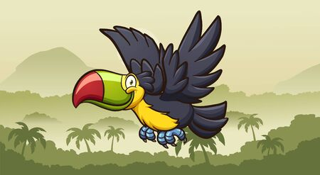 Happy cartoon toucan flying on a foggy jungle in the morning. Vector clip art illustration with simple gradients. Some elements on separate layers. 