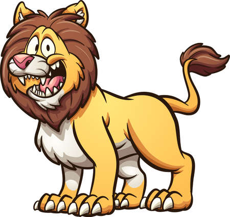 Happy cartoon male lion with big smile standing on four legs. Vector clip art illustration with simple gradients. All on a single layer.