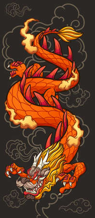 Cartoon red Chinese dragon on a dark cloud background. Vector clip art illustration with simple gradients. Some elements on separate layers.