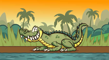 Happy cartoon crocodile resting on the river shore. Vector clip art illustration with simple gradients. Some elements on separate layers. Ilustracja