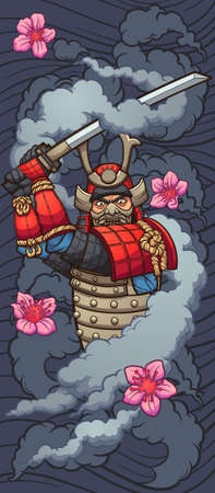 Cartoon samurai enveloped in smoke with sakura flowers and wave background. Vector clip art illustration with simple gradients. Some elements on separate layers. Ilustracja