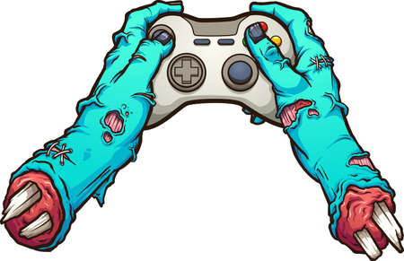 Cartoon zombie severed hands holding a video game controller. Vector clip art illustration with simple gradients. All in a single layer. Ilustracja