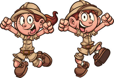 Happy cartoon explorer safari kids jumping. Vector clip art illustration with simple gradients. Each on a separate layer. 向量圖像