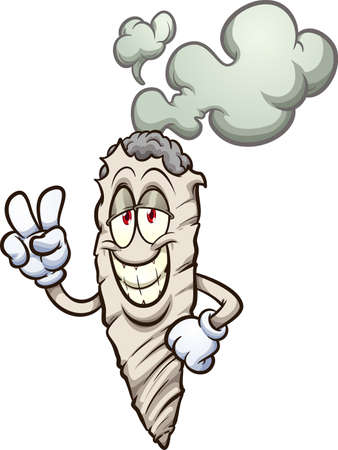 Cartoon marijuana cigarette making the peace sign. Vector clip art illustration with simple gradients. Cigarette and smoke on separate layers.
