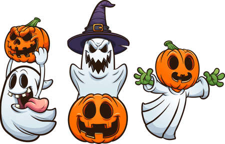 Halloween ghosts and pumpkins with evil smiles. Vector clip art illustration with simple gradients. Each on a separate layer.
