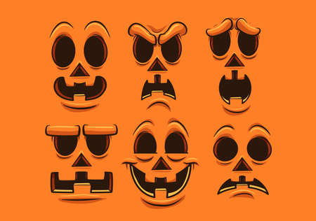 Halloween pumpkin faces with different expressions and emotions. Vector clip art illustration. Each on a separate layer.