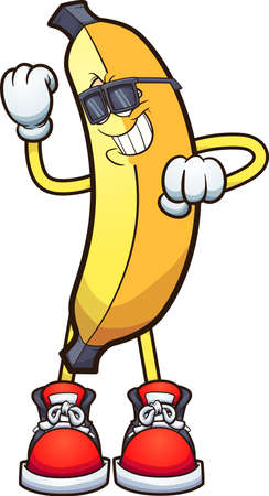 Cool dancing banana wearing sunglasses. Vector clip art illustration. All on a single layer. Ilustracja