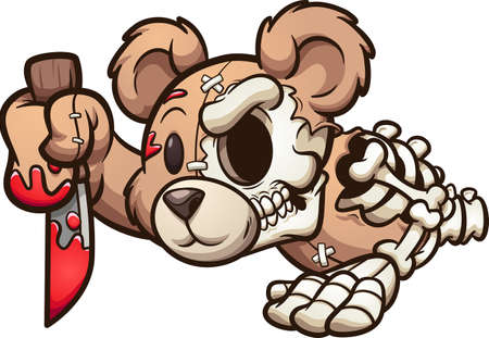 Creepy bear crawling and holding a knife. Vector clip art illustration. All on a single layer. Ilustracja