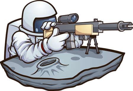 Cartoon astronaut holding a sharpshooter rifle. Vector clip art illustration. All on a single layer.