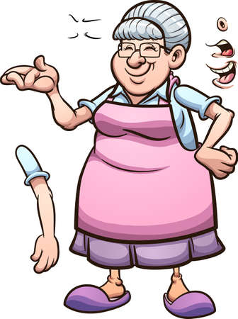Cartoon grandmother with different poses and expressions. Vector clip art illustration. Some elements on separate layers. Ilustracja