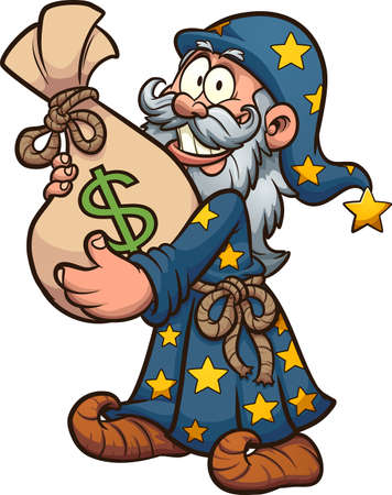Cartoon wizard holding a big bag of money. Vector clip art illustration. All on a single layer.