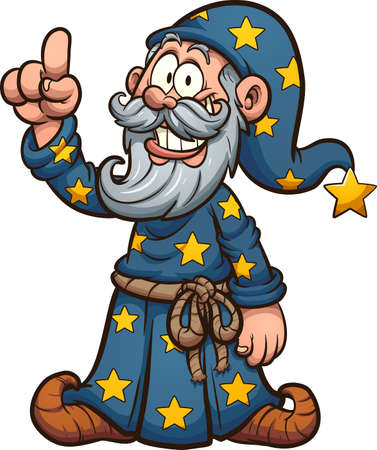 Cartoon wizard holding a finger up. Vector clip art illustration. All on a single layer.