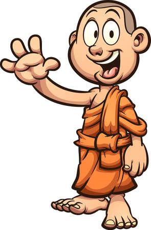 Happy child cartoon Buddhist monk waving.