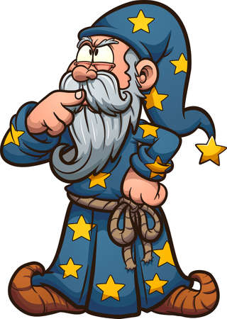 Cartoon wizard thinking hard with finger at his mouth. Vector clip art illustration. All on a single layer.