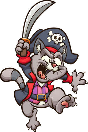 Cartoon jumping pirate cat with sword. Vector clip art illustration. All on a single layer.