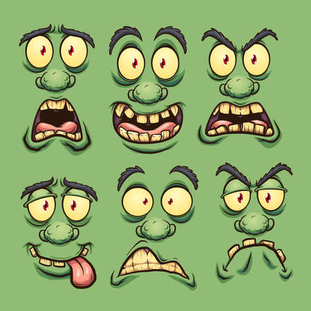Cartoon green monster faces with different expressions. Vector clip art illustration. Each on a separate layer.