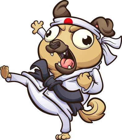 Cartoon fat pug dog throwing a karate kick. Vector clip art illustration. All on a single layer. Ilustracja