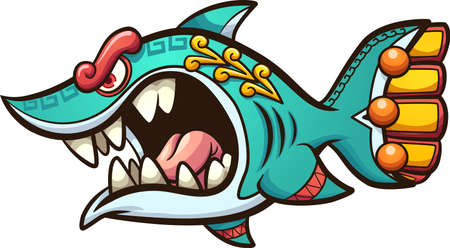 Angry cartoon Aztec shark with open mouth. Vector clip art illustration. All on a single layer.
