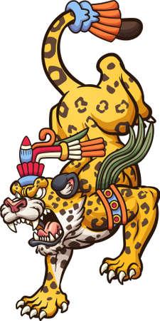 Angry cartoon jaguar walking down. Vector clip art illustration. All on a single layer. Ilustracja