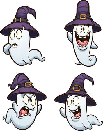 Halloween cartoon ghost with witch hat and different expressions. Vector clip art illustration. Each on a separate layer. Ilustracja