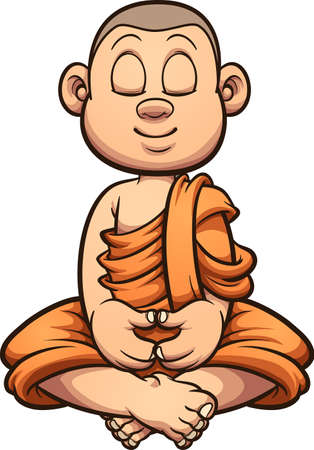 Cartoon meditating Buddhist monk kid. Vector clip art illustration with simple gradients. All on a single layer. Ilustracja