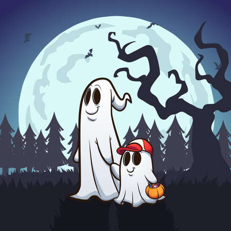 Ghost father and son trick-or-treating. Vector clip art illustration. Some elements on separate layers. Ilustracja
