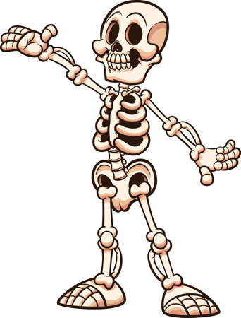 Happy cartoon white skeleton with presenting pose. Vector clip art illustration with simple gradients. All on a single layer. Ilustracja